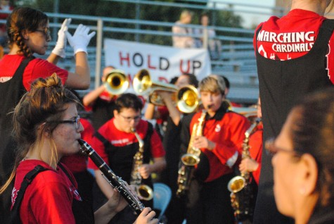During the game on Sept. 19, senior Shayna Welsh practices with her fellow band mates.