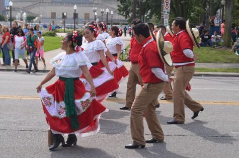 Hispanic dancers performing at the festival.