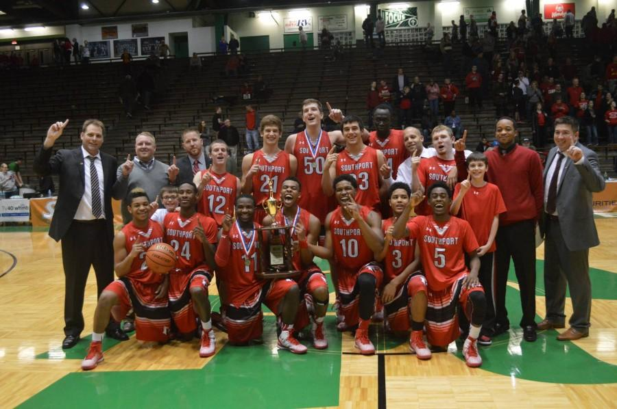 Team+poses+with+trophy+after+Hall-of-Fame+classic+win.+Southport+defeated+Brownsburg+for+the+second+time+this+season%2C+66-49.