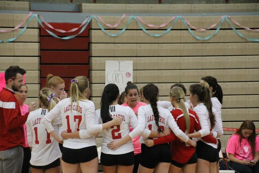 Varsity+coach+Christina+Vaeth+coaches+the+girls+during+a+timeout.+The+Lady+Cards+played+against+school+rival%2C+Perry+Meridian.+