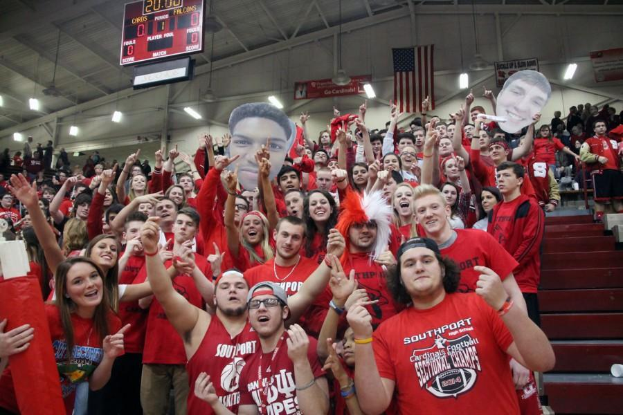 The Birdcage primed and ready to cheer for the Cards as the team takes on rival Perry Meridian. It was Red Out Night at the basketball game and the student section was filled with students.