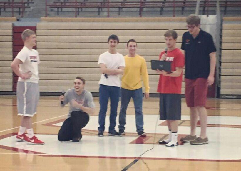The newly elected booster club rehearses for today's pep session. Photo from the SHS booster club's twitter account.