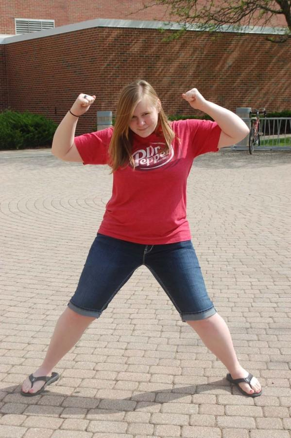 Senior Brittany Lewis displays her obvious strength as Dr. Obvious.