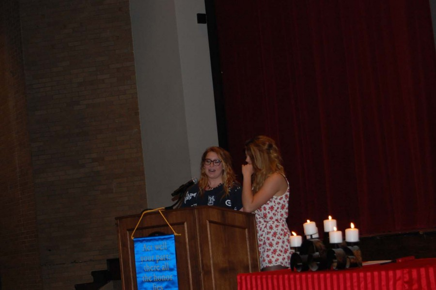 Senior Winona Cleary speaks alongside her friend senior Lily Freese. Freese shared that she was honored to be friends with Cleary.
