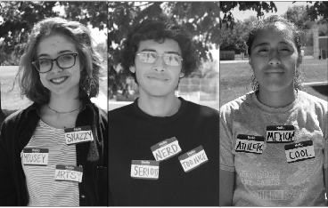 (From L to R) Senior Alaina Speiser, senior Chris Sherman and junior Mildred Delgado wear nametags to label themselves. The words chosen by these students are labels thought to represent them as people at first glance.