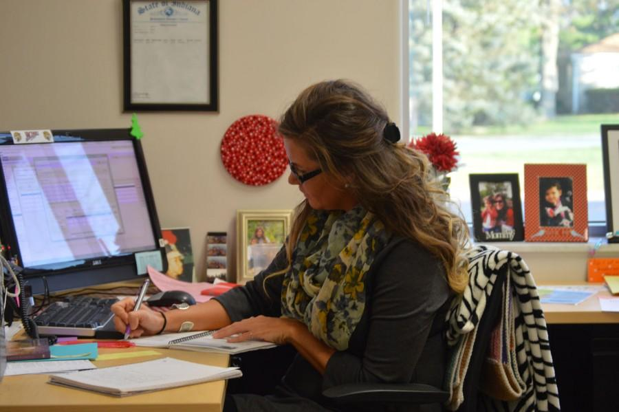 Mrs. Briana Underwood works at her desk on Dec. 10.