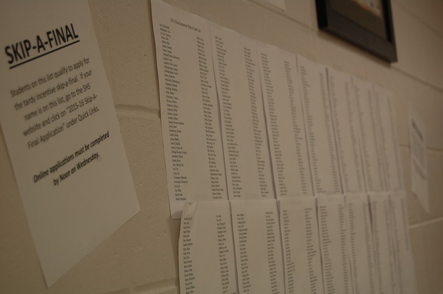 Skip-a-final list for students who are eligible to skip finals.