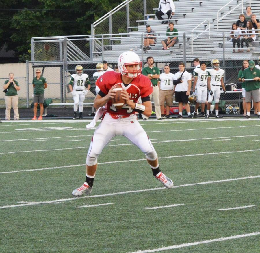Luke Johnston prepares to throw the football during the game against Westfield