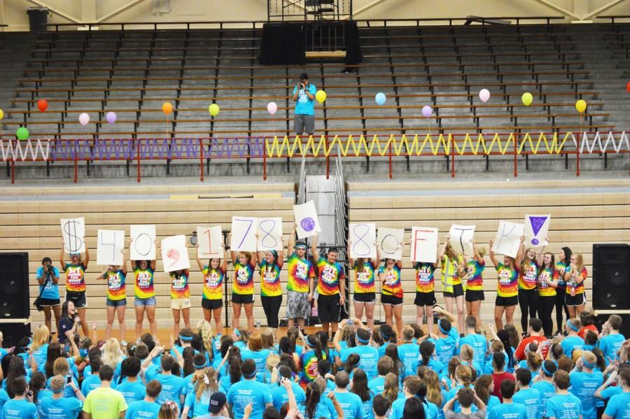 Participants+of+the+2015+Riley+Dance+Marathon+hold+up+signs+representing+the+total+amount+of+money+that+was+raised+for+Riley+Children%27s+Hospital+throughout+the+2014-2015+school+year.