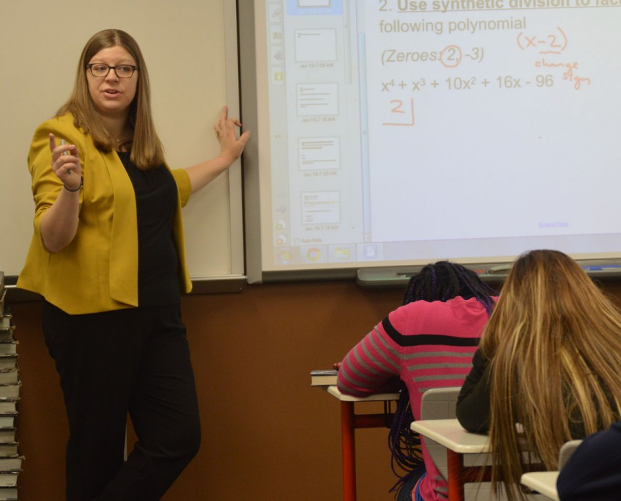 Math teacher Kelly Nickson teaches her class. Nickson taught at Decatur Central High School before coming to SHS.