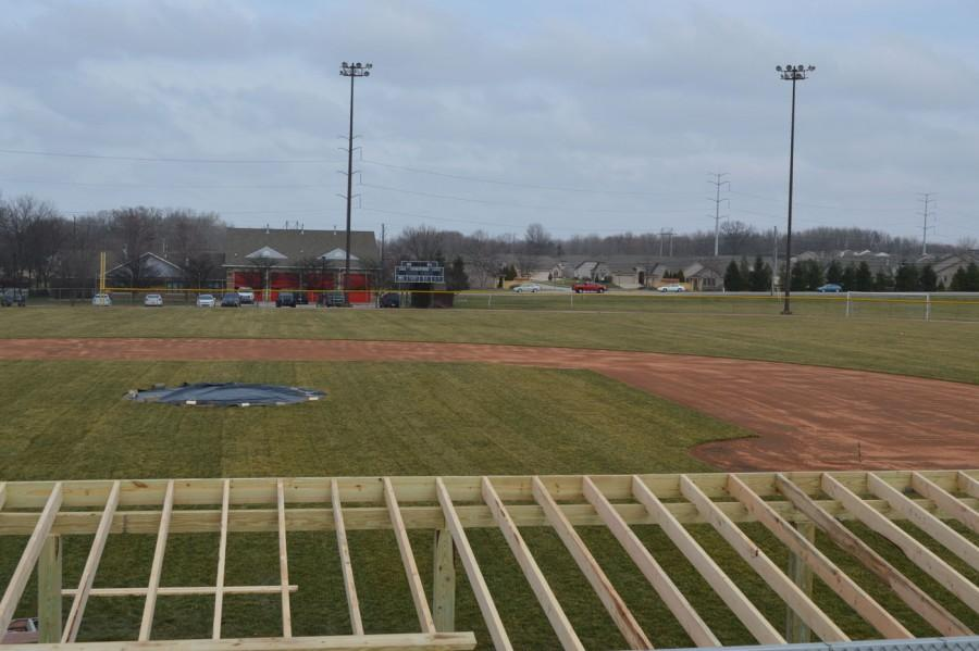 Holder Field in the process of construction on March 11. Kentucky bluegrass was put in to reduce the number of cancellations during the season.