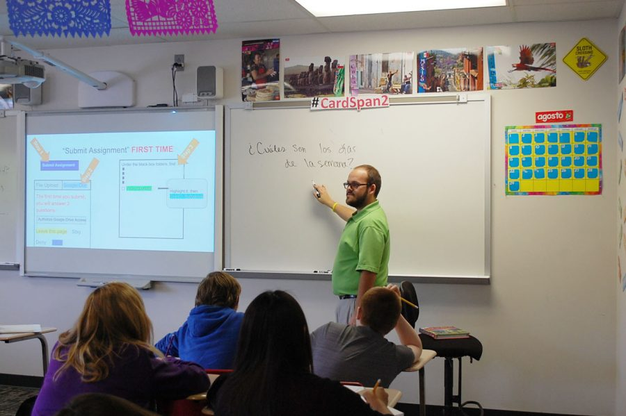 Mr. McNeely teaches his Spanish class. This year marks his first year as an actual teacher.
