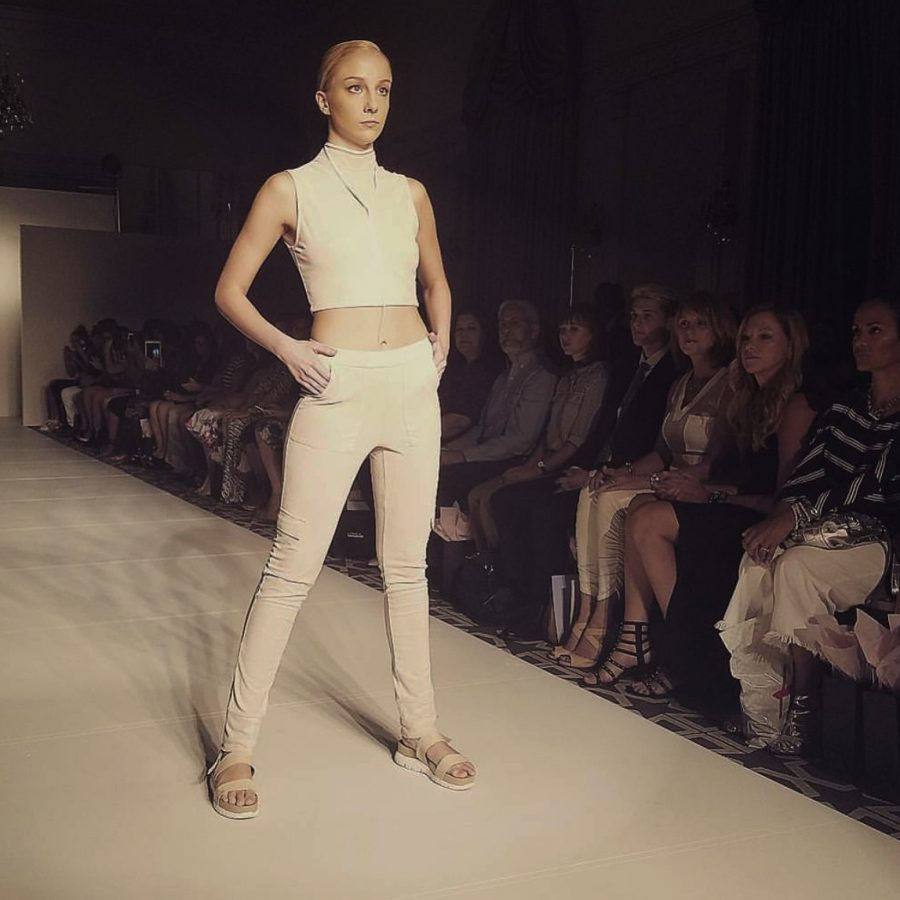Junior+Payton+Skirvin+poses+on+a+runway+during+a+fashion+show+in+New+York.++Skirvin+models+for+the+agency+LModelz.+