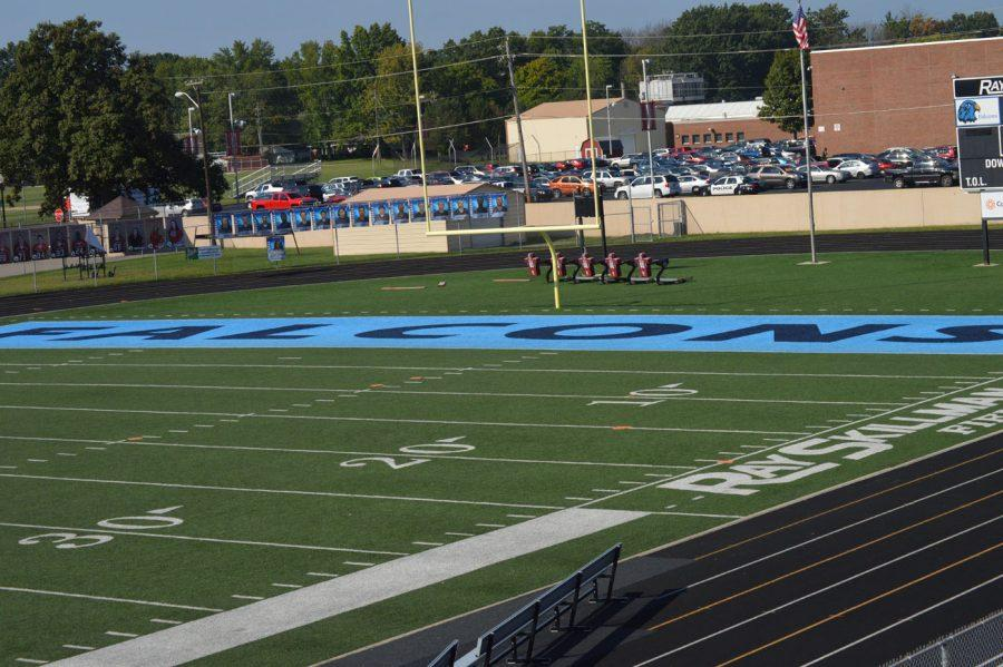 The Perry Falcons end zone at Perry Stadium. This will be removed once their stadium is completed.