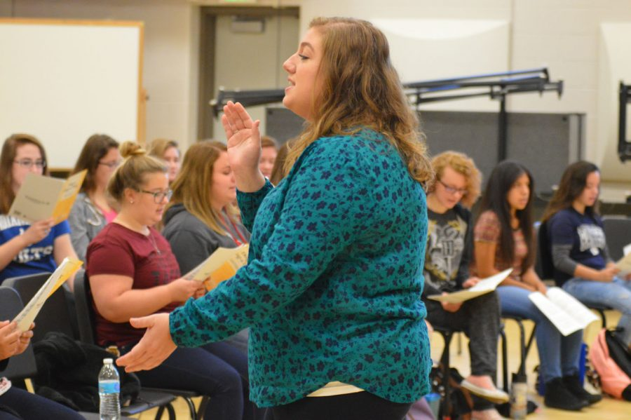 Doty rehearses with on of the SHS choirs on Oct. 4, 2016. They are competing in their first competitions this year.