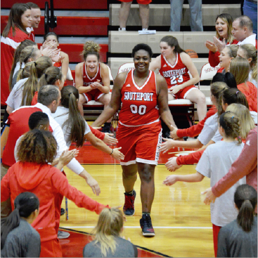 Senior Jaelencia Williams is introduced before the game versus Fishers on Nov. 5. She has played basketball since she was in 7th grade.