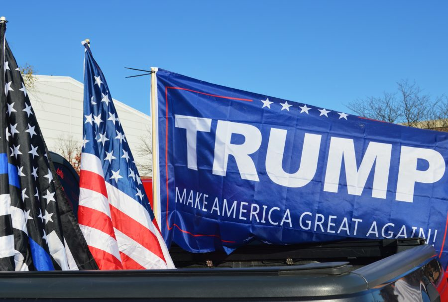 On+the+day+after+the+election%2C+this+flag+was+waving+on+a+truck+in+the+SHS+parking+lot.+Trump+supporters+across+the+school+were+wearing+Trump+attire+or+had+flags+similar+to+this.
