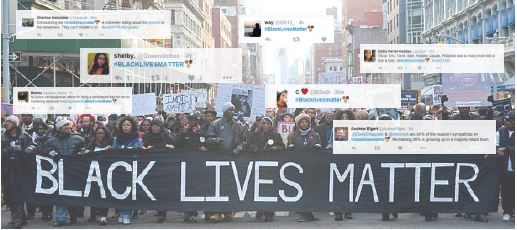 Tweets supporting #BlackLivesMatter scatter over a picture of one of the movement's protests. It was started to rally against police brutality against black Americans.