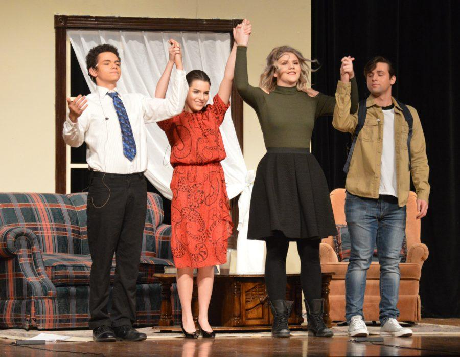 """Senior Jordan Baker, junior Alicia May, senior Taylor Kincaid and junior Coltin Faulkner hold hands and take a bow at the end of """"Drugs are Bad."""" Kincaid directed """"Drugs are Bad,"""" and has been a apart of One Acts all four years of highschool. ("""