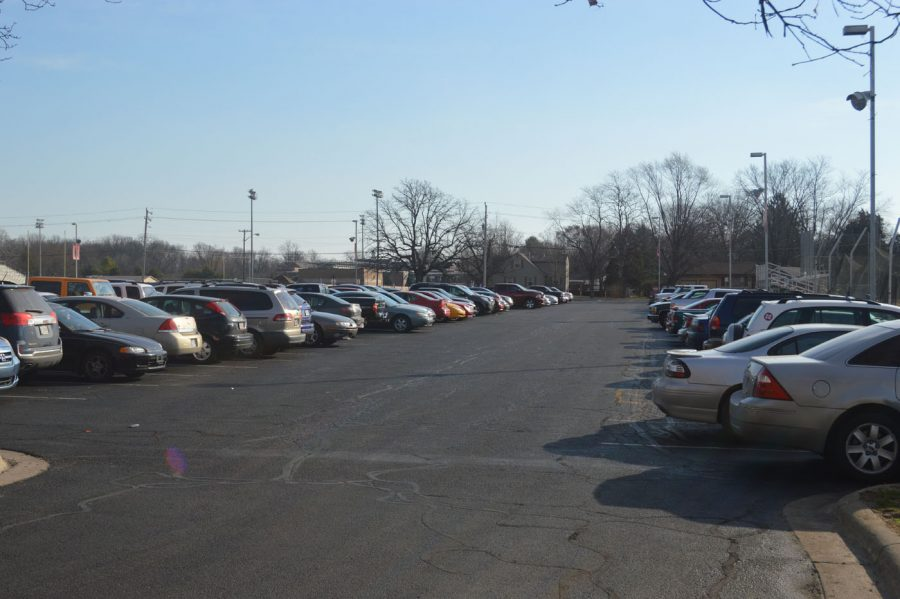 The SHS parking lot on Friday, Feb. 24. The parking lot is often busy with students and staff coming and going at the beginning and end of each day.