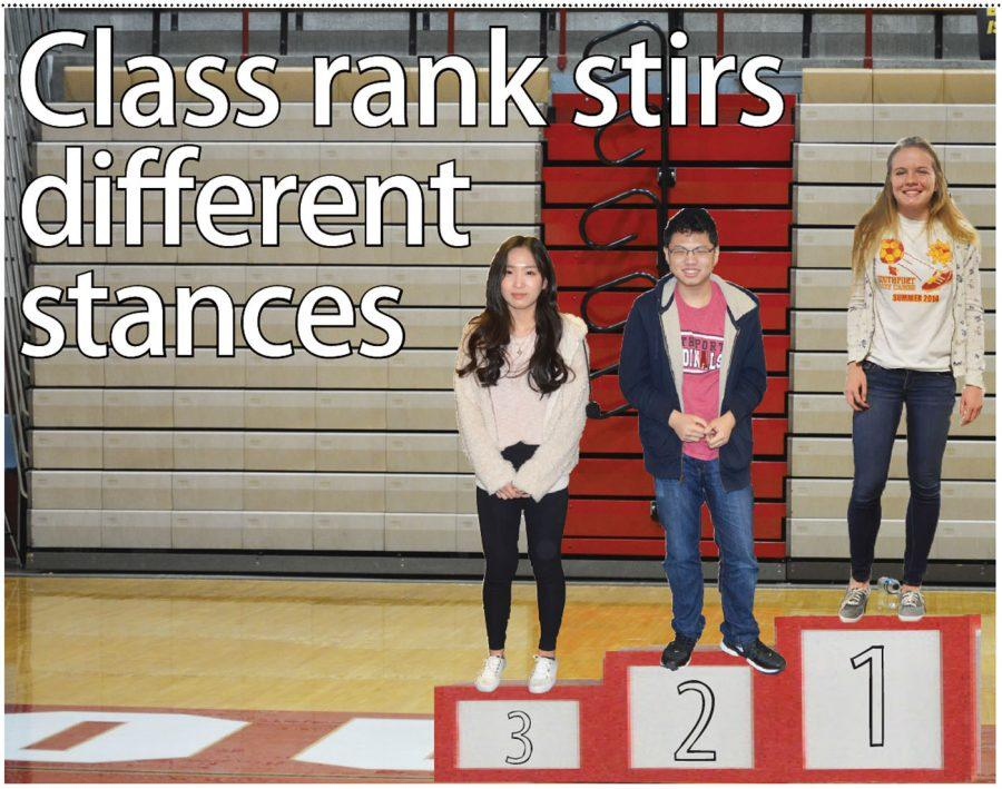 The top three students from class of 2017 are seniors Angela Dong, Xingyu Cheng and Erin Sullivan (Right to left). Sullivan believes that the ranking system makes students have a goal.