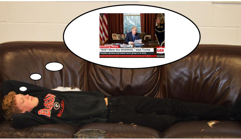 Senior Bert Saunders is caught in the  middle of his dream about Trump. He is doing everything possible to forget the details of his dream, even going as far as listening to Justine Beaver on full blast to drown them out.