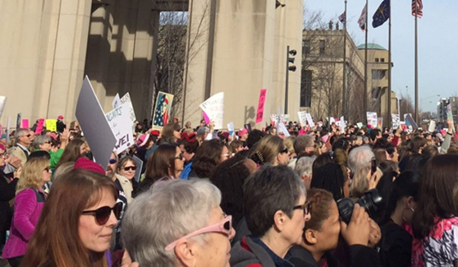 Thousands of men and women march in the Women's March in downtown Indianapolis on Jan. 21. The march was specifically held the day after President Donald Trump's inauguration to protest his planned future policies regarding women's reproductive rights.