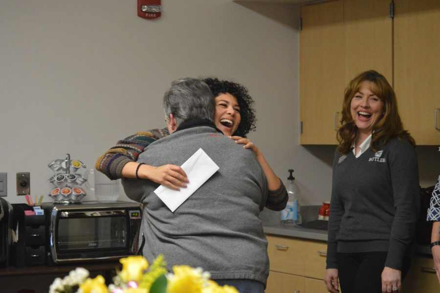 Senior Mikayla Whittemore hugs her grandmother soon after she discovered she was awarded with a full ride scholarship to Butler. Whittemore plans to major in Political Science.