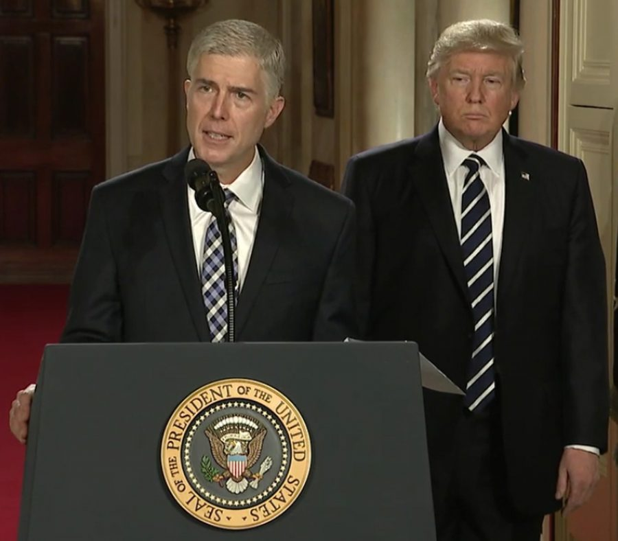 Supreme Court Justice Neil Gorsuch accepts President Donald Trump's nomination for Supreme Court Justice. Gorsuch fills the vacancy left behind by the late Supreme Court Justice Antonin Scalia.
