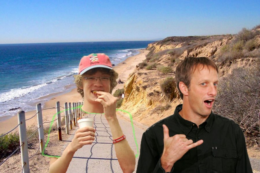 Tony Hawk (or T-Hawk, as I now call him) and I hanging out near a beach in California. Yes, I was eating pretzels.