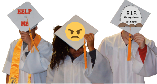 Jada Pinkett Smith (center) is joined by her fellow recent SHS graduates Nicholas Sage (left) and Shia LeShrimp (right) in expressing their distaste for graduating. All three broke down crying afterwards.