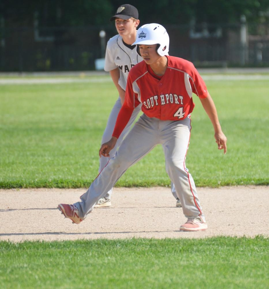 Freshman Russel Pterson-Womack creeps off of second base.