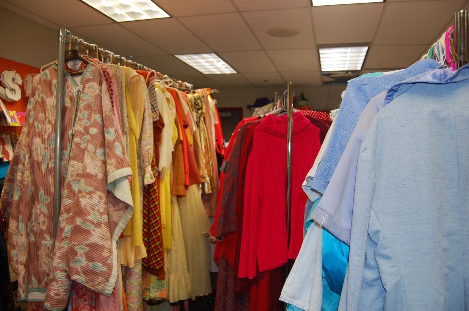 Inside Whitlock's green room, where all costumes are kept and performers change during the play.