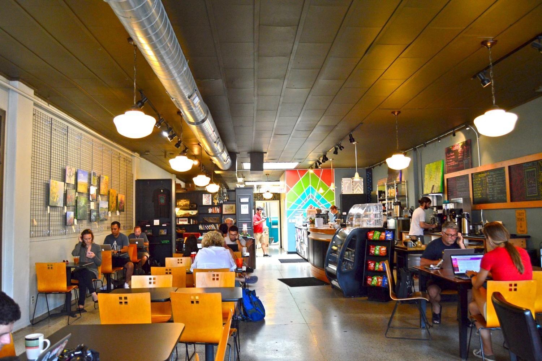Inside of Calvin Fletcher's Coffee Shop.