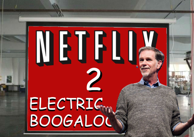 Netflix CEO Heed Rastings  reveals the logo for Netflix 2: Electric Boogaloo.
