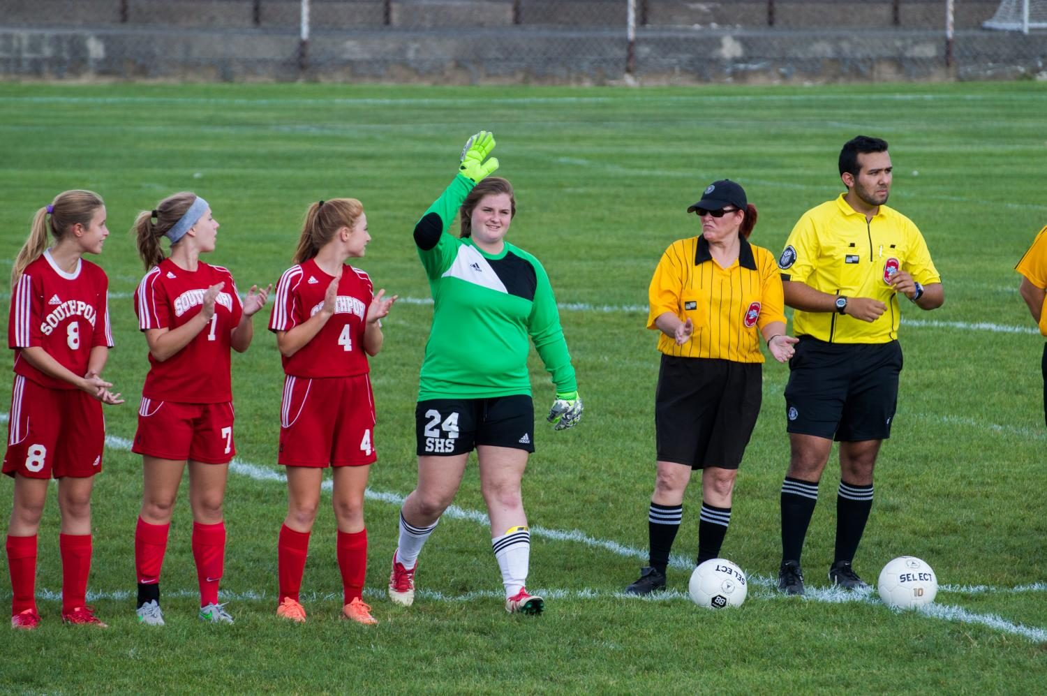 Senior and Captain Emily Chambers gets introduced during the soccer game on Tuesday Aug. 15 at Kuntz stadium. Chambers has been a varsity starter for 4 years.