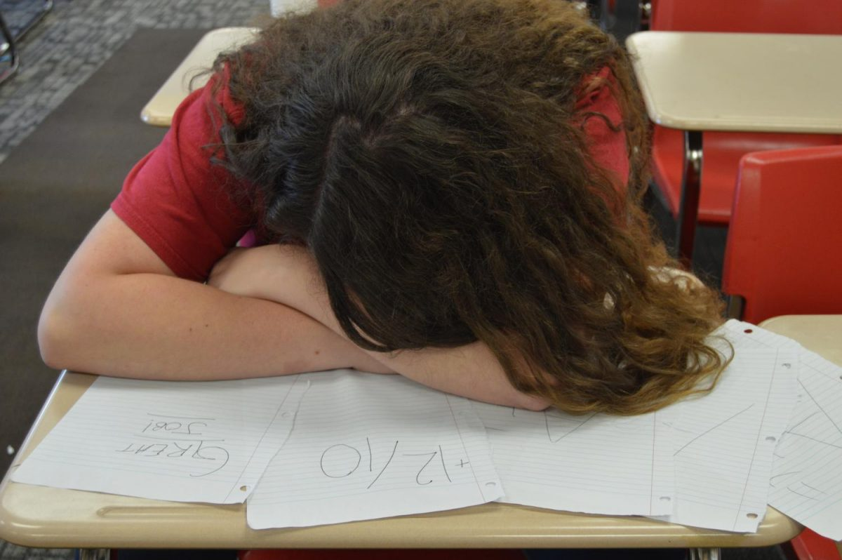Senior Katie Barns is in a deep slumber as one of her teachers passes back papers.