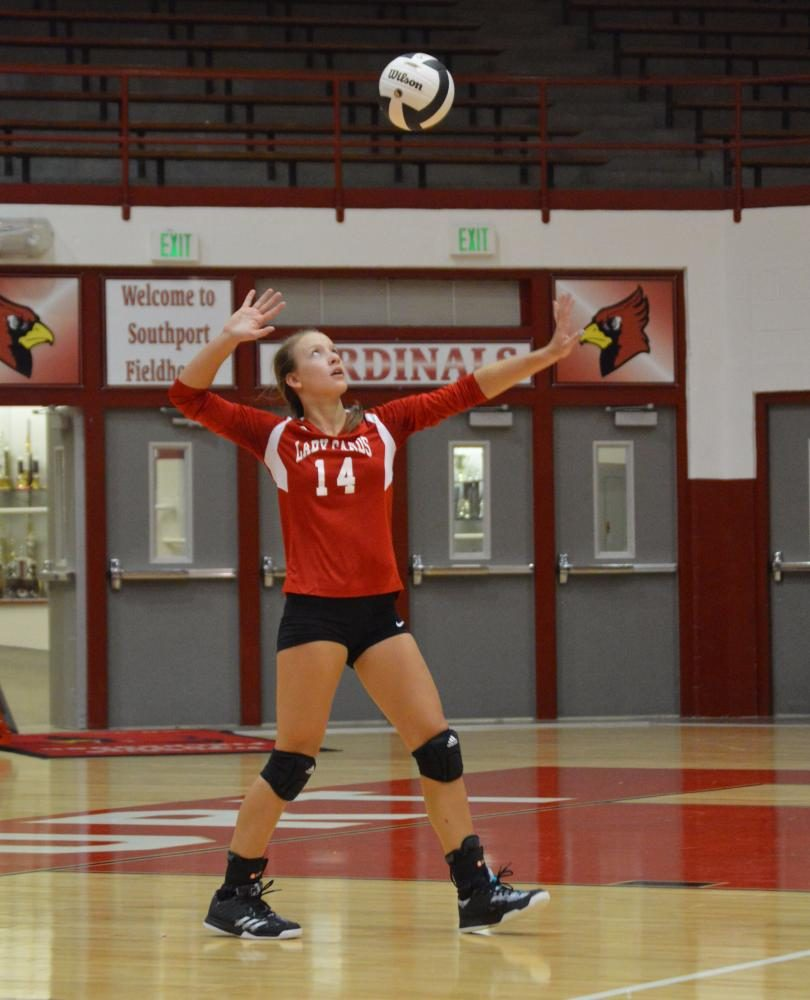 Sophomore Vanessa Miller serves the ball during the Lady Card's match against Warren Central. SHS won 3-0.
