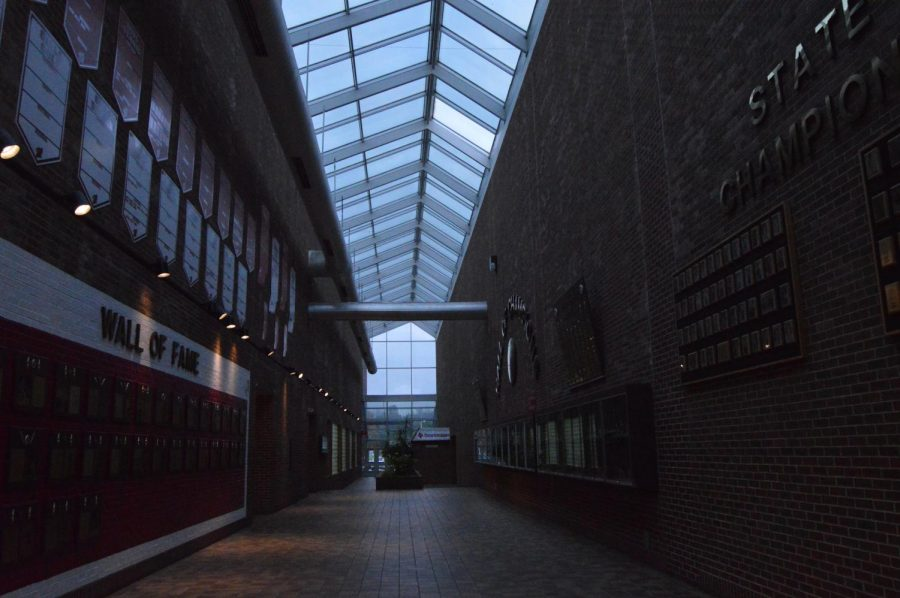 The lighting in the atrium mostly comes from natural sunlight. When it is dark outside, it is often dark in the atrium.