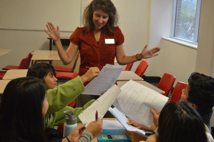 Math teacher Christina Ferguson struggles to give proper attention to students during a recent math lab.