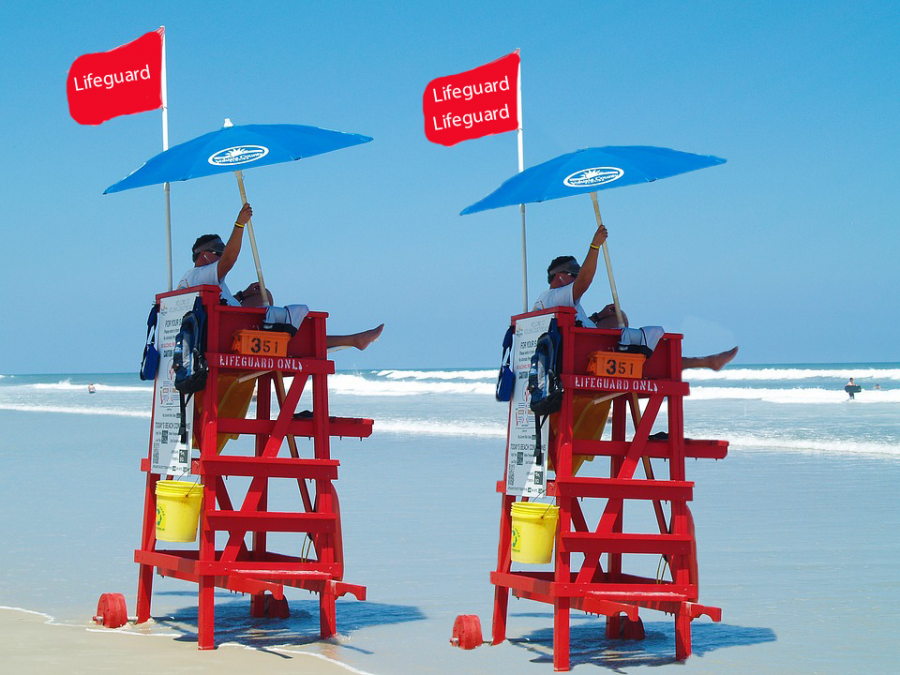 A lifeguard and his safe-space lifeguard patrol the area during a practice session.