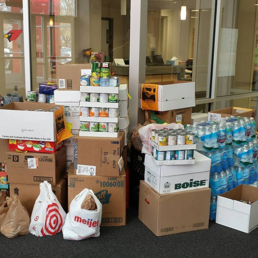 Pictured are just some of the cans that Student Council collected for Hunger Inc.
