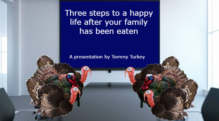 Turkeys prepare for a morning seminar in their support group.