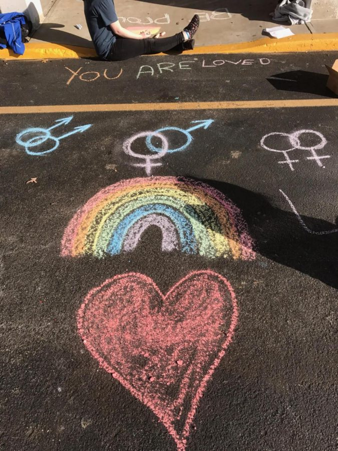 Students wrote notes and drew pictures surrounding the topic of LGBT.
