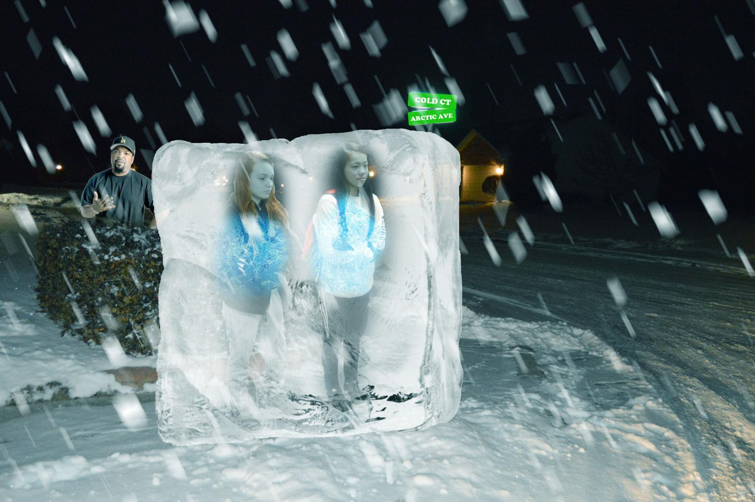 "Sophomores Dani Mitchell (left) and Chloe Price (right) freeze while waiting for the bus in the morning last Thursday. ""I guess Venus was out-of-line today,"" Mitchell said after defrosting."