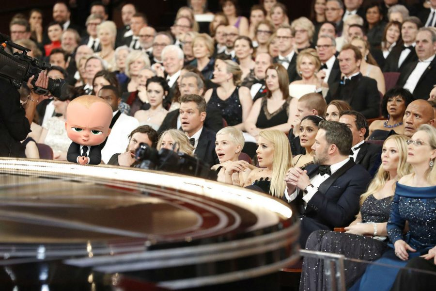 A picture that a sneaky photographer managed to get of the Boss Baby at last year's Oscars. After leaking the photo to the internet, the photographer was reportedly never heard from again. The Journal will forever remember his service.