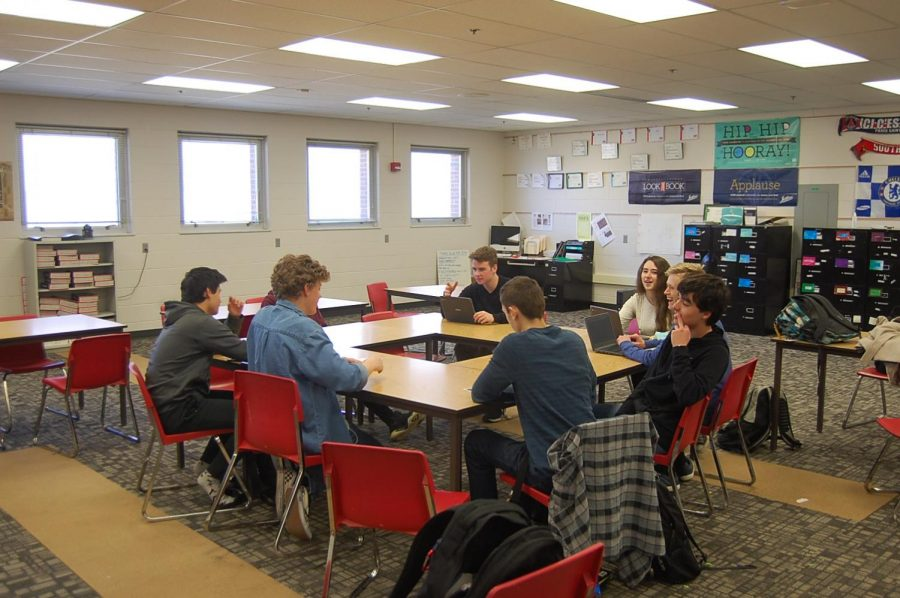 Philosophy club members circle up on Tuesday, Feb. 13. They were debating zen and the art of motorcycle maintenance. At their meetings, someone will bring up a topic, and that is how their conversations get started.