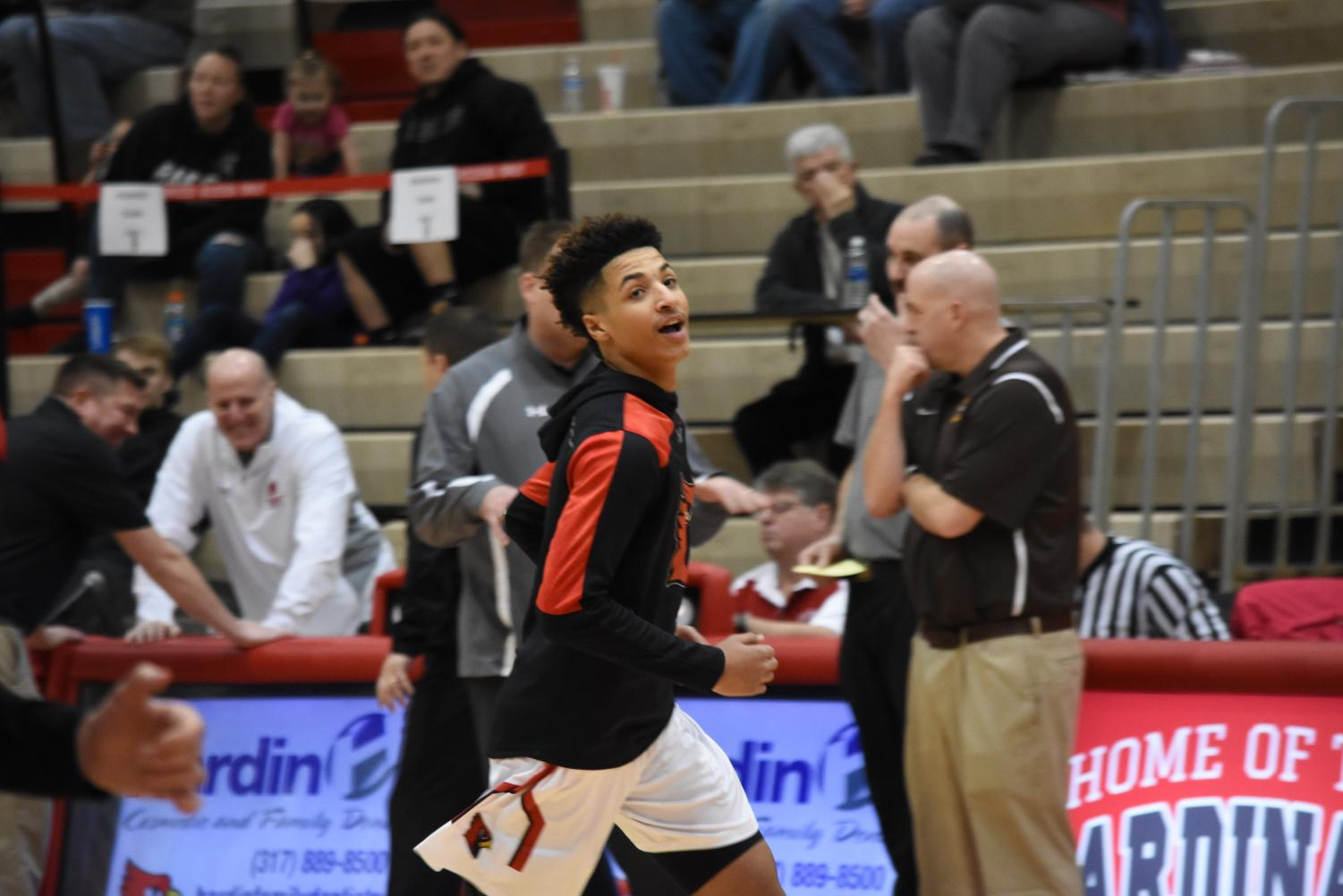 Sophomore Brevin Jefferson warms up before the basketball games against Evansville Central on Feb. 10.