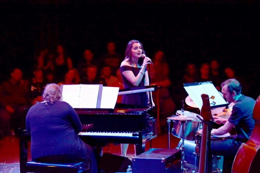 Senior Alicia May sings a solo during the jazz performance.
