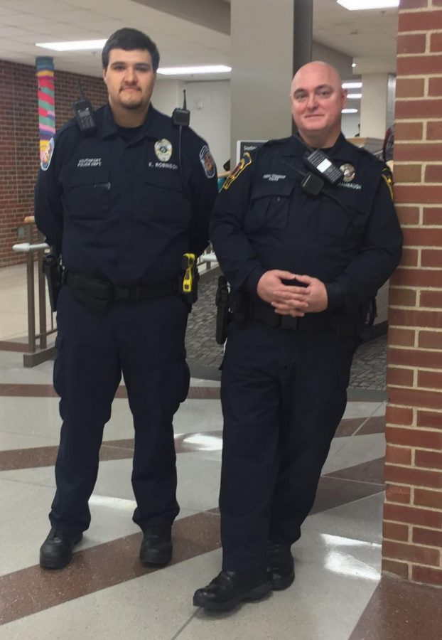 Kaleb Robinson and officer Thomas Shambaugh are SHS's new officers.